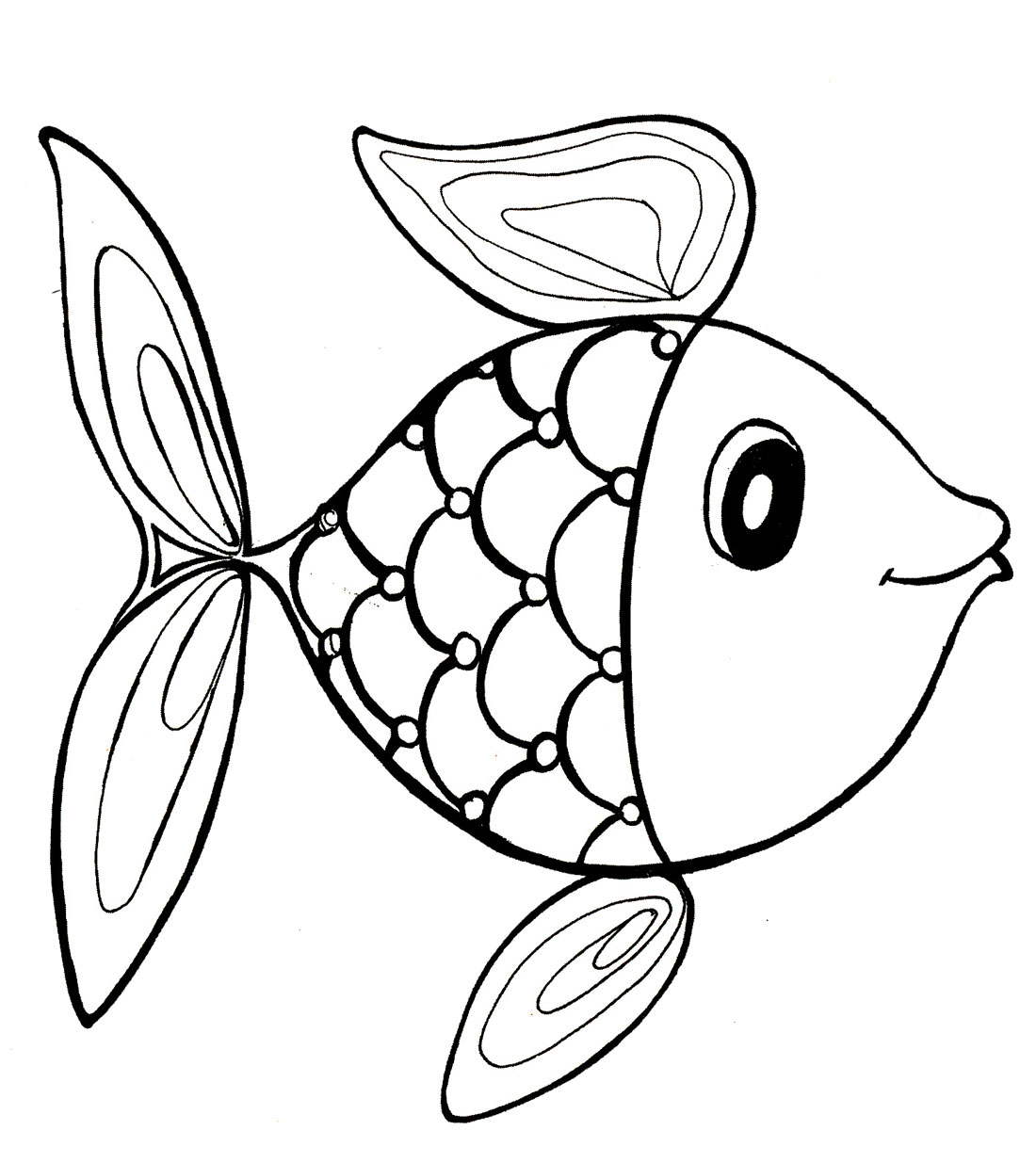 Картинка Раскраска Рыбка Для Детей