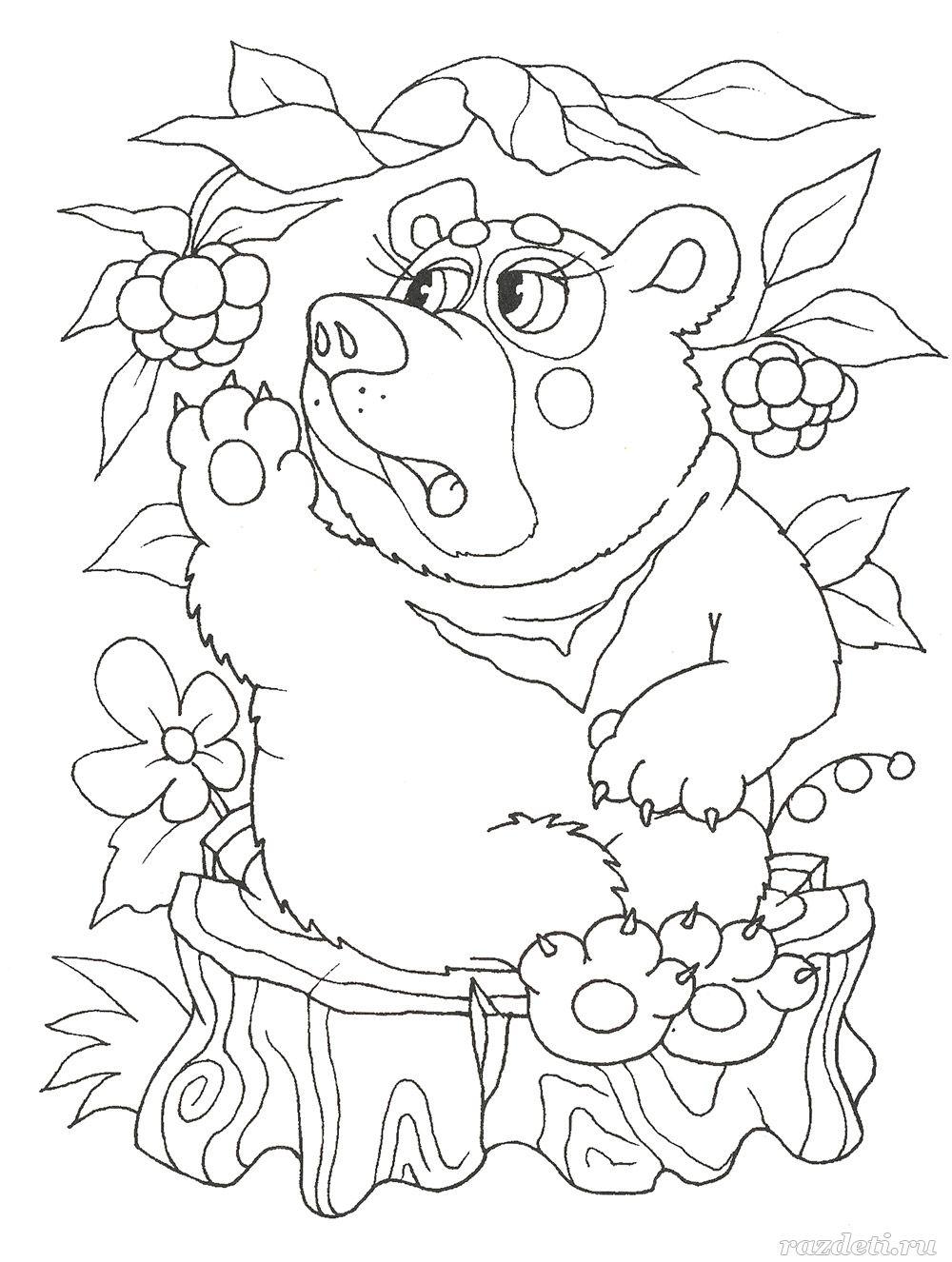Раскраска для детей. Медведь и ягоды