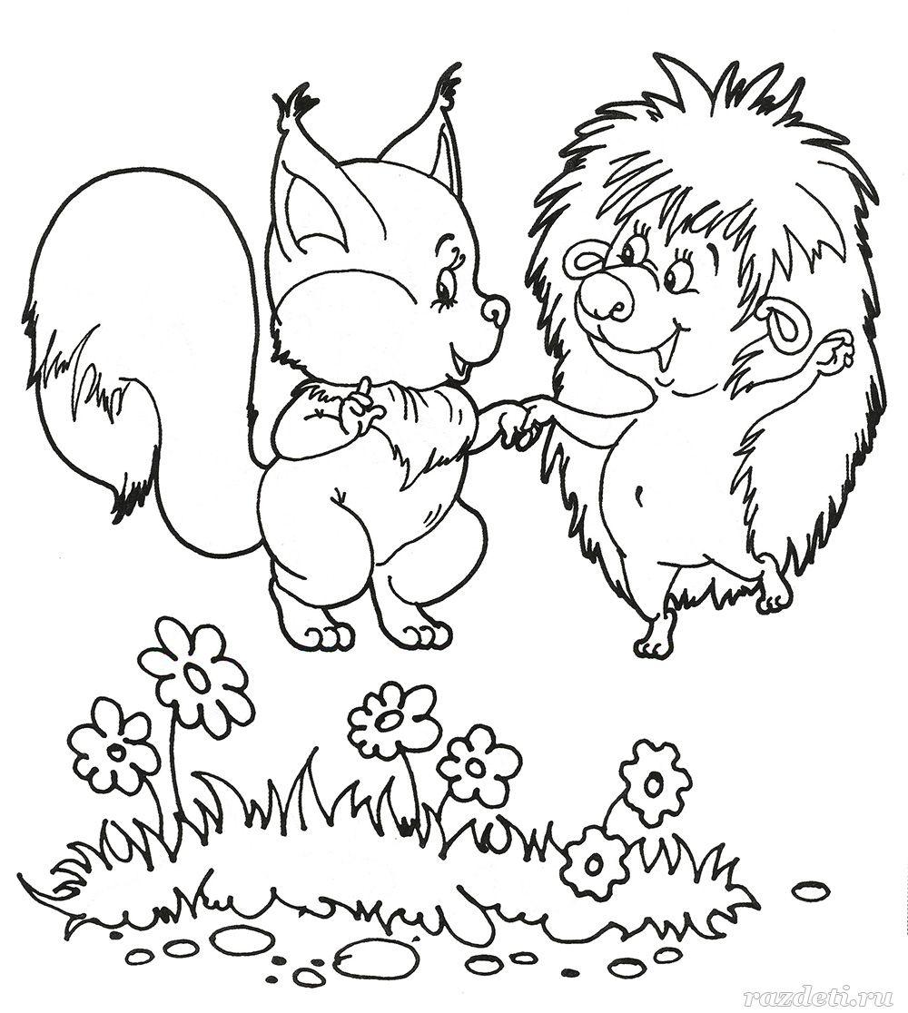 Белочка и Ёжик. Раскраска для детей 5-7 лет