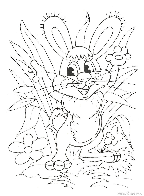 Раскраска для детей. Заяц на полянке