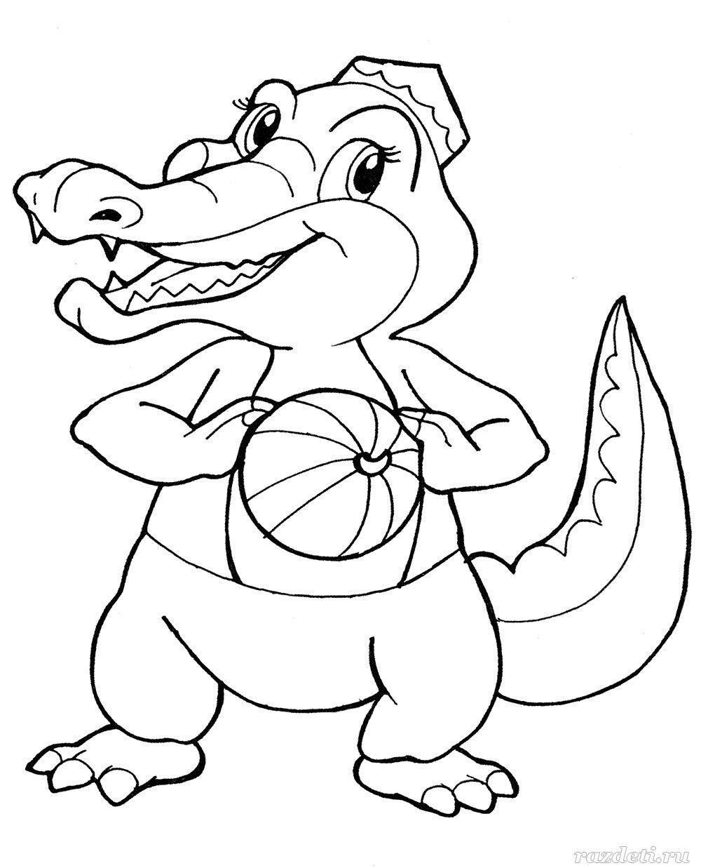 Картинки животных для раскраски черно белые крокодил