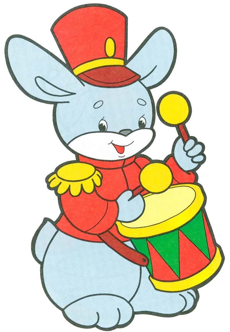 Надписью, открытка заяц с барабаном