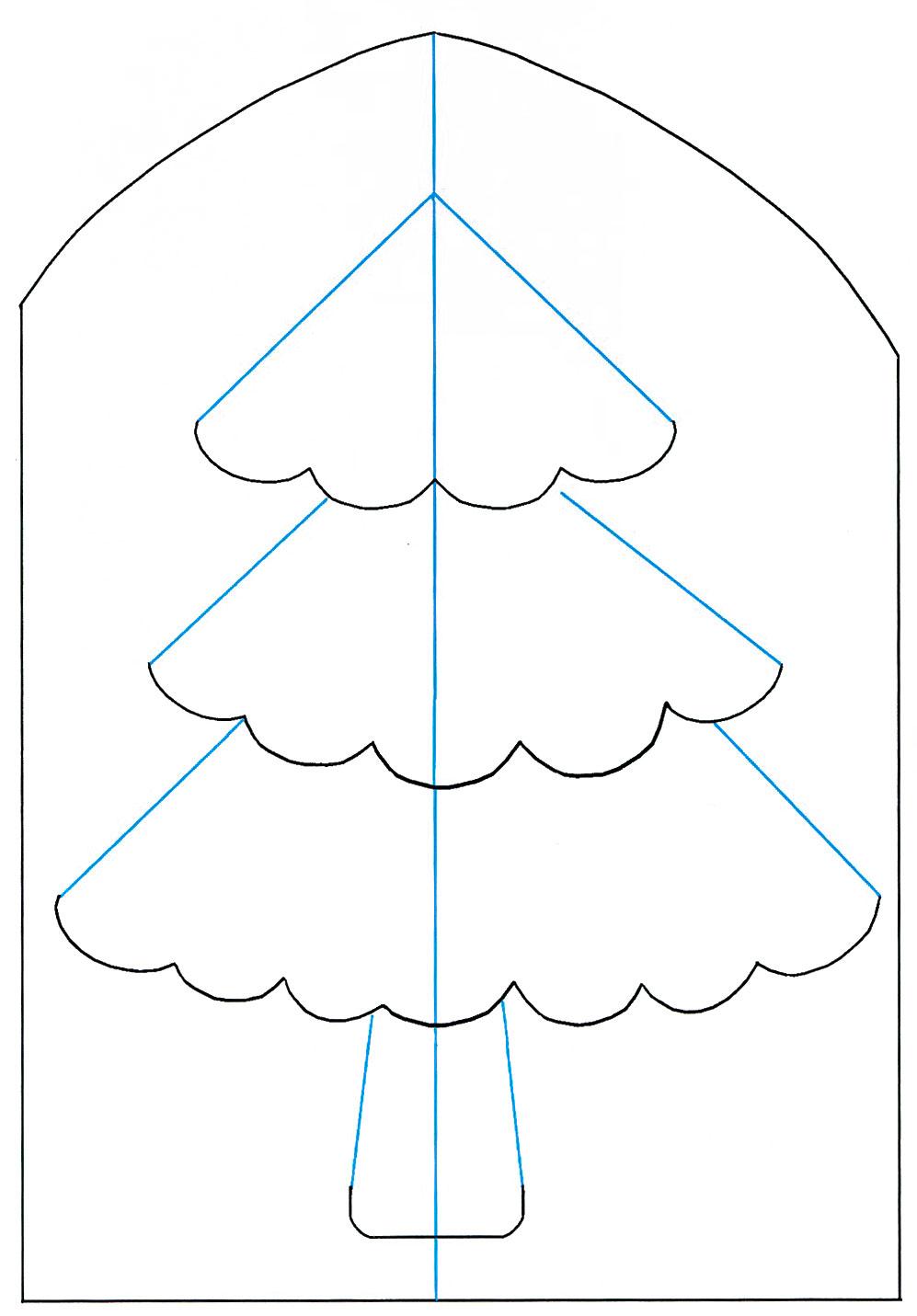 Схема открытки елки, украинском