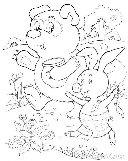 Раскраска Винни-Пух и Пятачок идут в гости